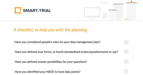 Clinical data management plan - checklist